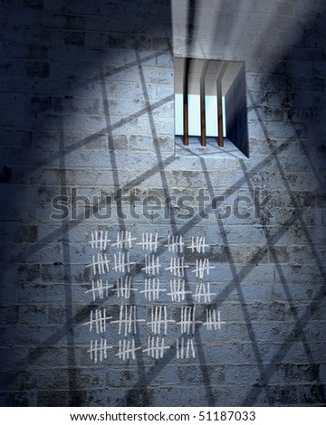 Old prison cell with window, bars and calendar in sunbeam