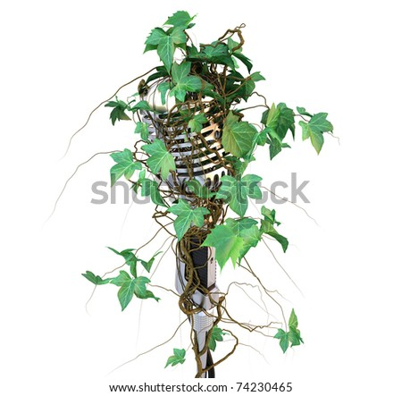old professional microphone overgrown with ivy. isolated on white. with clipping path.