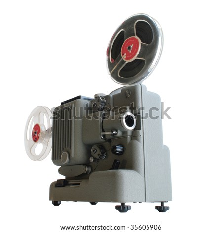 Old projector on white background - stock photo