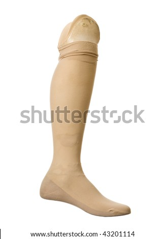 Old prosthetic leg isolated on a white background