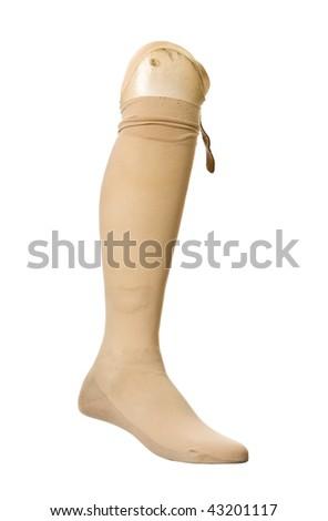 Old prosthetic leg isolated on a white background