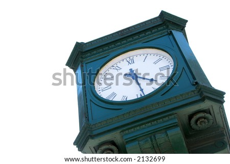 Old public clock isolated on white background