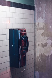 Old public phone in the subway