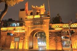 Old Quarter street night cityscape Hanoi Vietnam