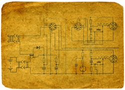 Old radio circuit on a white background.