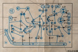 Old radio circuit printed on vintage paper electricity diagram as background for education, electricity industries and repair. Electric radio scheme from USSR, close up