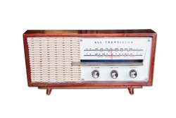 Old radio from 1950 and the years on isolated background