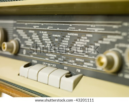 Old radio isolated on a white background