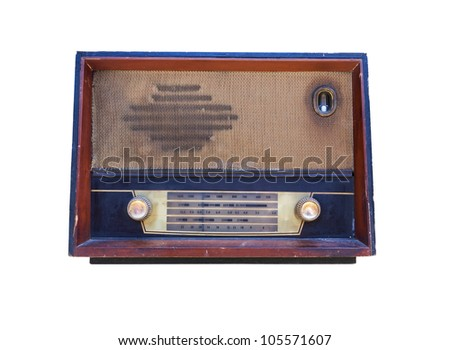 Old radio isolated on white background.