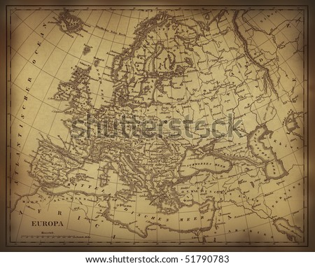 Old ragged map of Europe on paper or parchment document