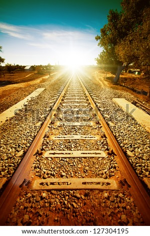 Old railroad to light. Retro style of picture