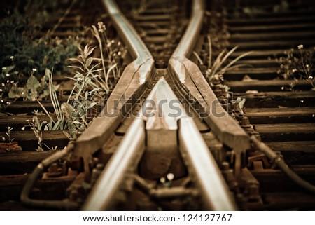 Old railroad tracks - stock photo