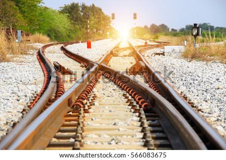 old railroad tracks at a...
