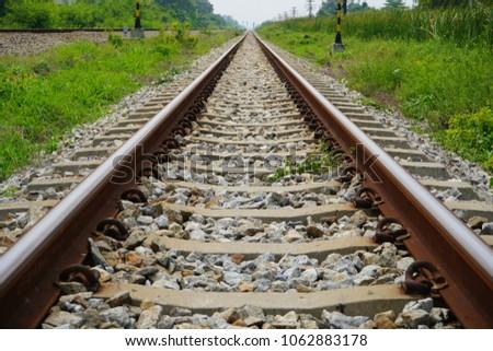 Old railroad tracks, Steel railway for trains