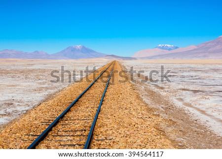 old railway in salar de uyuni ...