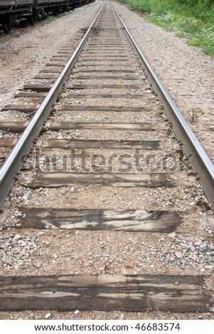 Old railway track with diminishing perspective