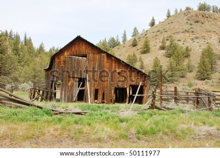 Old ranch site along State Hwy 19 near Spray Oregon in North Eastern Oregon - stock photo