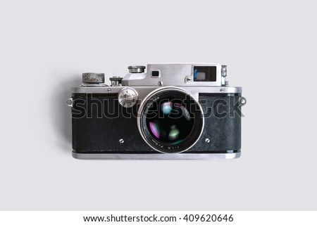 old rangefinder camera on white ...