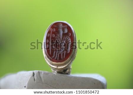 Old Rare Intaglio  Stone  Signet Islamic Ring Stockfoto ©