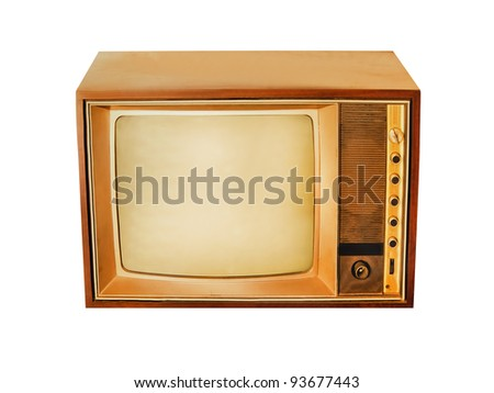 Old Rare Vintage Television with no brand and model isolated on white background