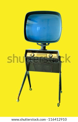 Old rare vintage tube television from past decade stand on four flexible legs place over bright background. - stock photo