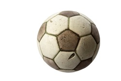 Old real leather soccerball isolated on white background.