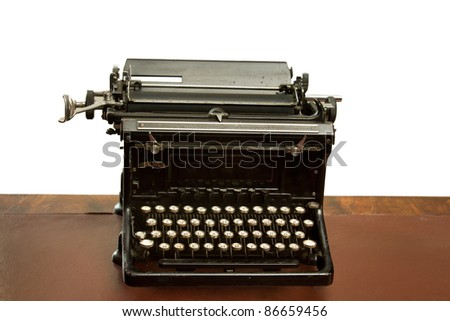 Old reception area with an antique  typewriter on a table - white background