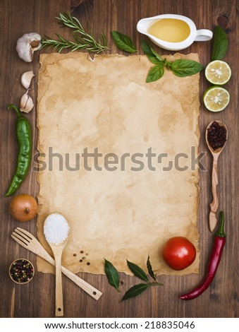 Old recipe note background concept
