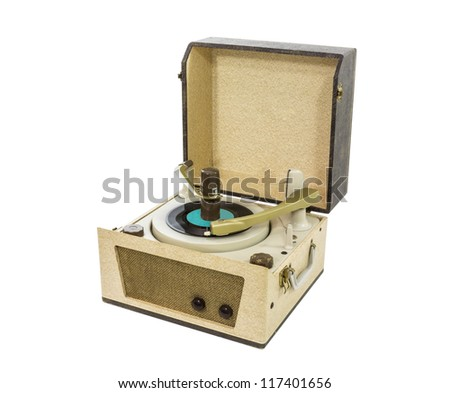 Old record player from the 1960's with clipping path. - stock photo
