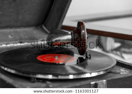old record player gramophone with vinyl record #1163301127