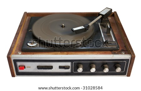 old record-player isolated on white background with clipping path