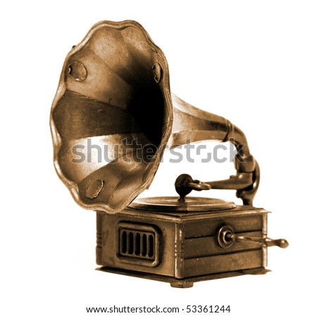 Old record player over white background. Retro image