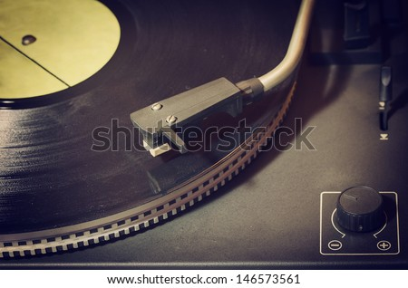 stock photo old record player with vinyl disk 146573561 - Каталог — Фотообои «Ретро»