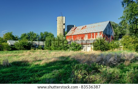 Old red barn nearly overrun with growing grasses and bushes