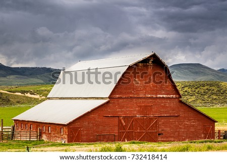 old red barn on an idaho...