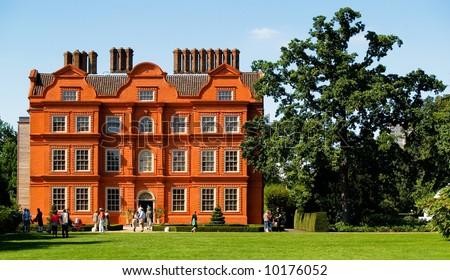 Old red brick mansion at Kew Gardens, England.