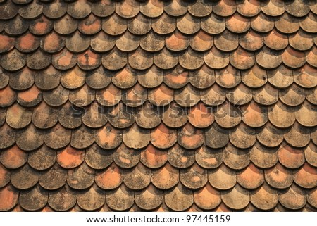 Old red brick roof tiles from north of thailand
