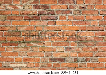 Old red brick wall - full scale background