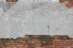 Old Red Brick Wall With Damaged Grey Plaster Abstract Horizontal Background Texture For Text Or Image