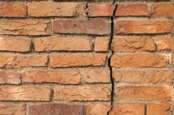 old red bricks crack wall texture background abstract