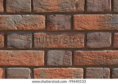 Old red bricks wall background - stock photo