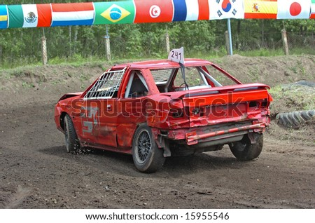 Old red car at stock car race