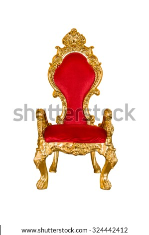 Old red chair on a white background.