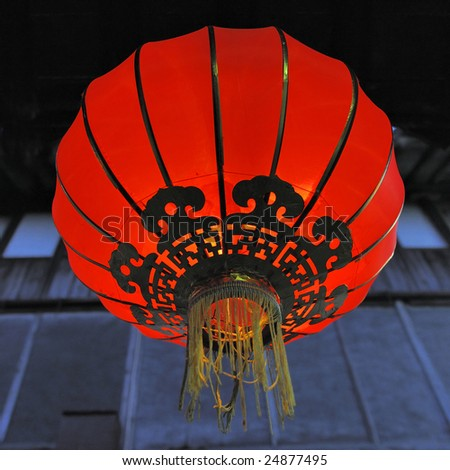 Old red Chinese lantern at night