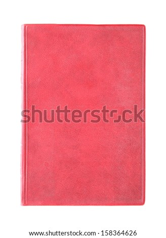 Old red cover book isolated over white background - stock photo