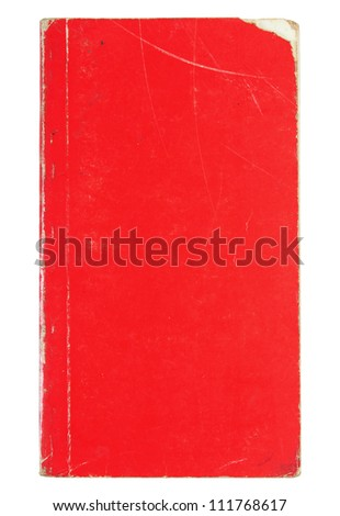 Old red cover book isolated over white with clipping path - stock photo