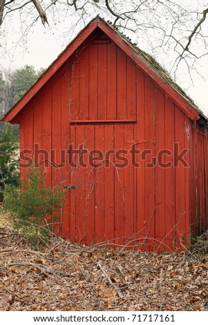 Old red farm and garden shed.
