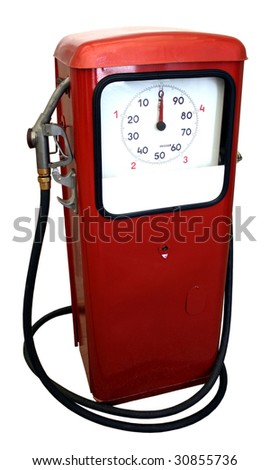 Old red gas pump isolated on white