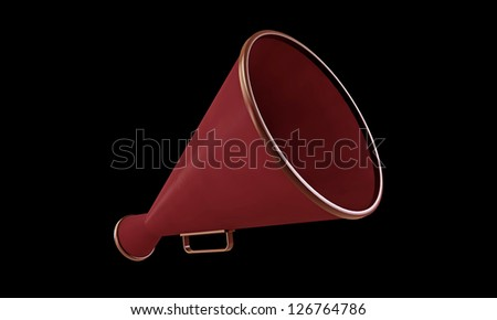 old red megaphone isolated on black background