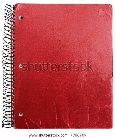 old red notebook isolated against white background